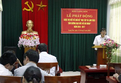 """Báo Lạng Sơn phát động cuộc thi viết về chủ đề """"Học tập và làm theo tấm gương đạo đức Hồ Chí Minh"""""""