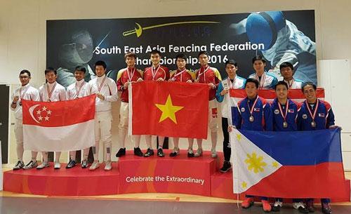 Việt Nam xếp nhất toàn đoàn giải vô địch đấu kiếm Đông Nam Á 2016