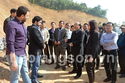 Kiểm tra hiện trường dự án đường đến trung tâm xã Tân Yên, huyện Tràng Định