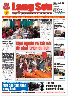Báo Lạng Sơn số 5211 ngày 30-03-2017