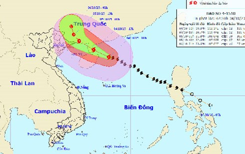 Bão số 4 cách đảo Hải Nam (Trung Quốc) khoảng 130 km