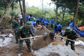 Những người lính quân hàm xanh tham gia xây dựng nông thôn mới