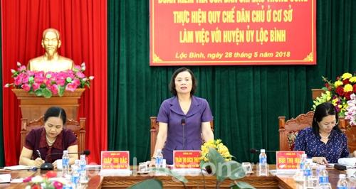 Đoàn kiểm tra của Ban Chỉ đạo Trung ương thực hiện quy chế dân chủ ở cơ sở kiểm tra tại Lạng Sơn