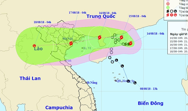 Bão giật cấp 10 hướng vào Quảng Ninh - Nam Định