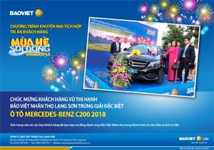 Khách hàng Lạng Sơn trúng giải đặc biệt ô tô Mercedes - Benz C200 2018 chương trình