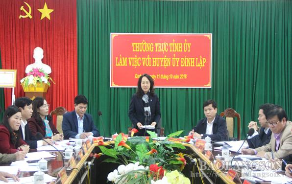 Thường trực Tỉnh ủy Lạng Sơn làm việc với Huyện ủy Đình Lập