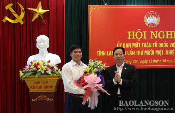 Lạng Sơn kiện toàn chức danh Chủ tịch Ủy ban MTTQ tỉnh