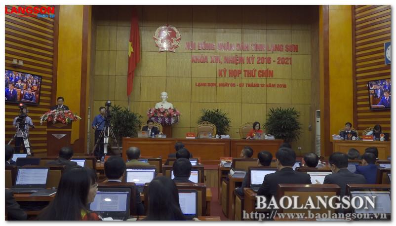 Ngày làm việc thứ nhất kỳ họp thứ 9 HĐND tỉnh Lạng Sơn khóa XVI: Tiến hành nhiều nội dung quan trọng