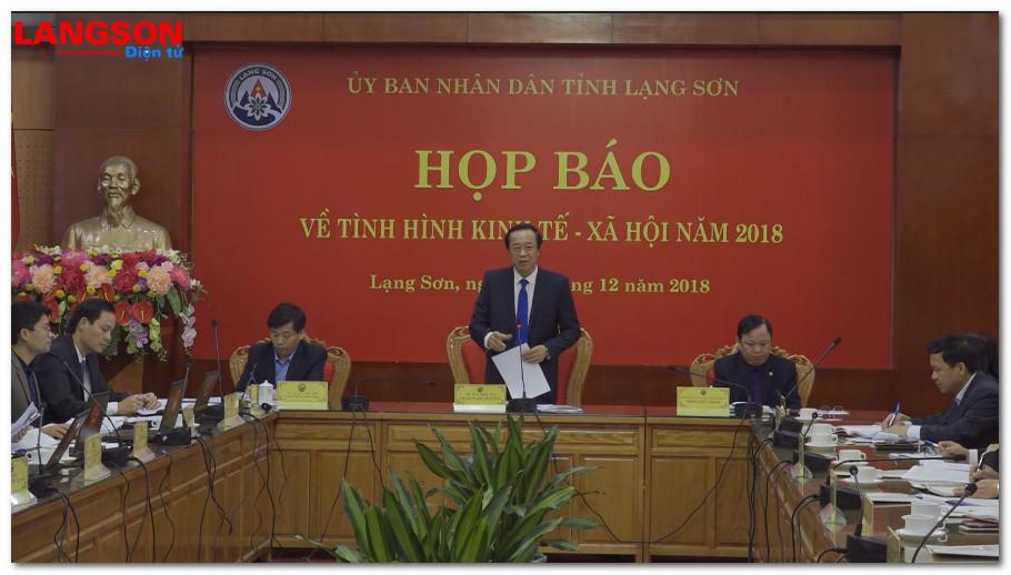 UBND tỉnh Lạng Sơn họp báo thông tin tình hình kinh tế - xã hội năm 2018