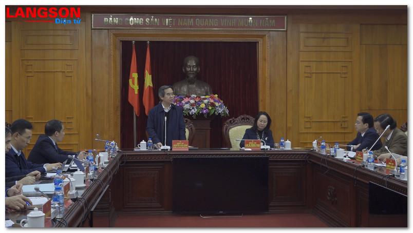 Đoàn công tác của Ban Kinh tế Trung ương làm việc tại Lạng Sơn