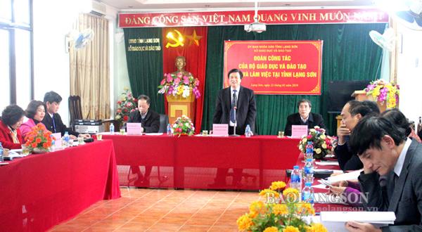 Đoàn công tác Bộ Giáo dục và Đào tạo làm việc tại Lạng Sơn