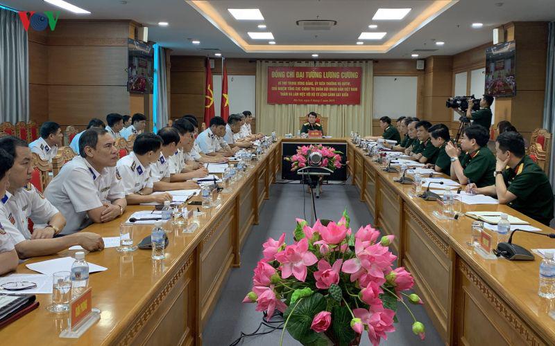 Đại tướng Lương Cường làm việc tại Bộ Tư lệnh Cảnh sát biển Việt Nam