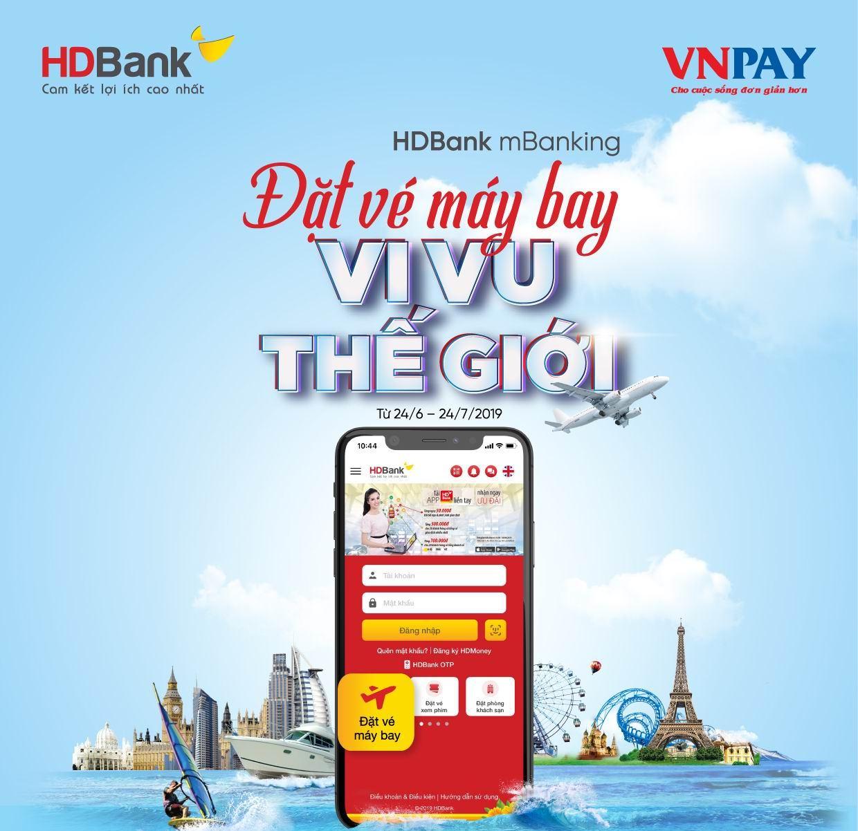 Nhiều ưu đãi khi đặt mua vé máy bay trên ứng dụng HDBank mBanking