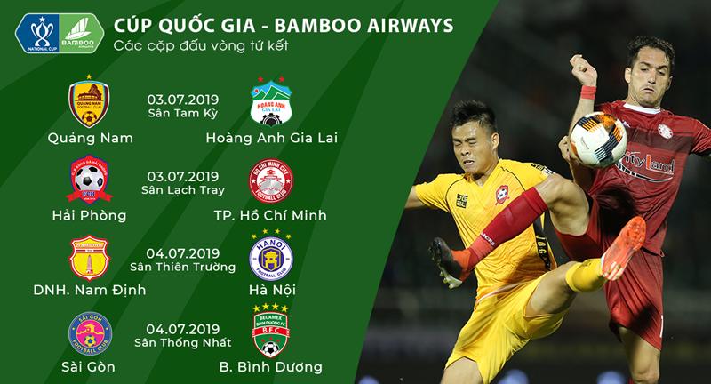 Lịch thi đấu tứ kết Cúp Quốc gia 2019: HAGL và Hà Nội FC dễ thở