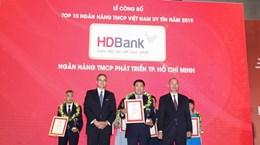 HDBank lọt tốp 6 ngân hàng thương mại tư nhân uy tín nhất năm 2019