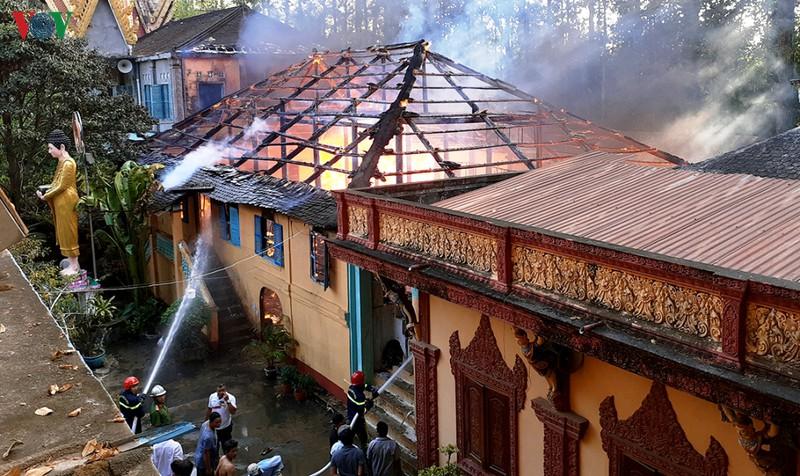 Ngôi chùa cổ hơn ngàn năm tuổi tại Trà Vinh bị cháy