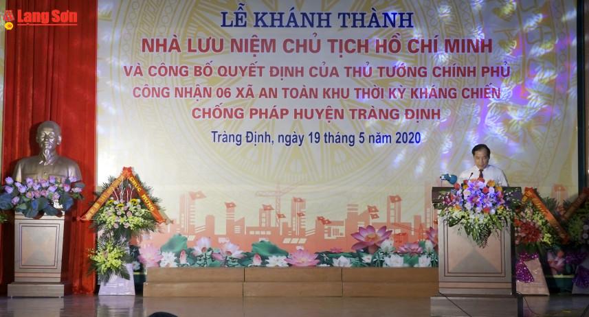 Khánh thành nhà lưu niệm Chủ tịch Hồ Chí Minh tại huyện Tràng Định