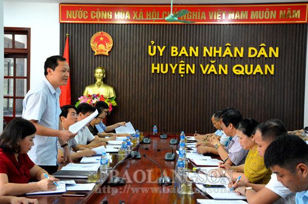 Kiểm tra việc thực hiện chỉ đạo của UBND tỉnh tại huyện Văn Quan