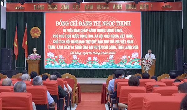Phó Chủ tịch nước Đặng Thị Ngọc Thịnh thăm và làm việc tại huyện Chi Lăng