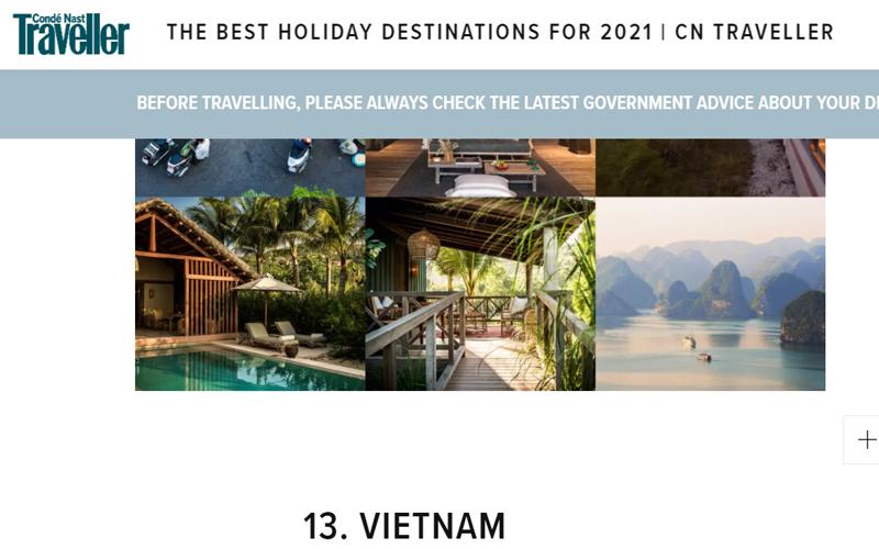 Việt Nam nằm trong nhiều danh sách gợi ý du lịch của CNTraveler