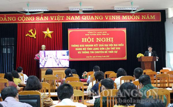 Thông báo nhanh kết quả Đại hội đại biểu Đảng bộ tỉnh lần thứ XVII và thông tin chuyên đề thời sự