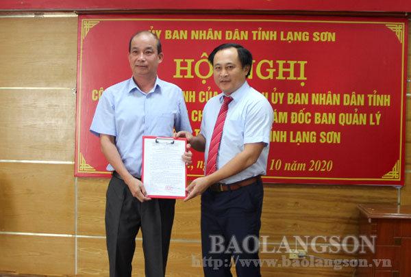Công bố quyết định điều động, bổ nhiệm chức vụ Phó Giám đốc Ban Quản lý dự án đầu tư xây dựng tỉnh Lạng Sơn