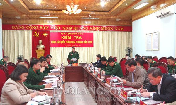 Quân khu 1 kiểm tra công tác quốc phòng địa phương tại tỉnh Lạng Sơn