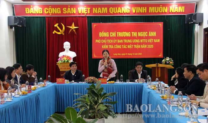 Đoàn công tác Ủy ban Trung ương Mặt trận Tổ quốc Việt Nam  làm việc tại Lạng Sơn