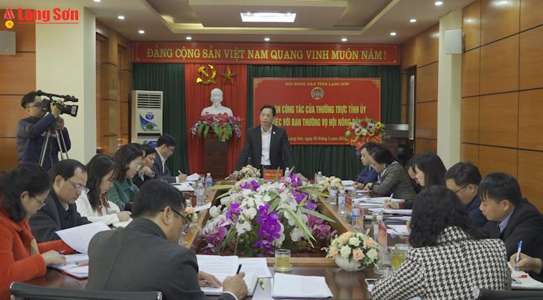Thường trực Tỉnh ủy làm việc với Ban Thường vụ  Hội Nông dân tỉnh