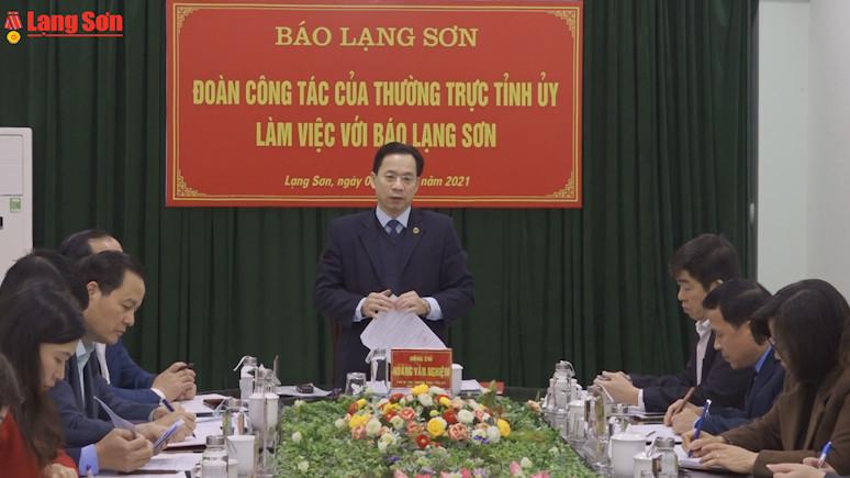 Thường trực Tỉnh ủy làm việc với Báo Lạng Sơn