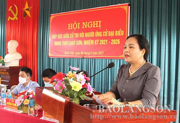 Các ứng cử viên đại biểu HĐND tỉnh, nhiệm kỳ 2021 – 2026 tiếp xúc cử tri vận động bầu cử tại huyện Tràng Định