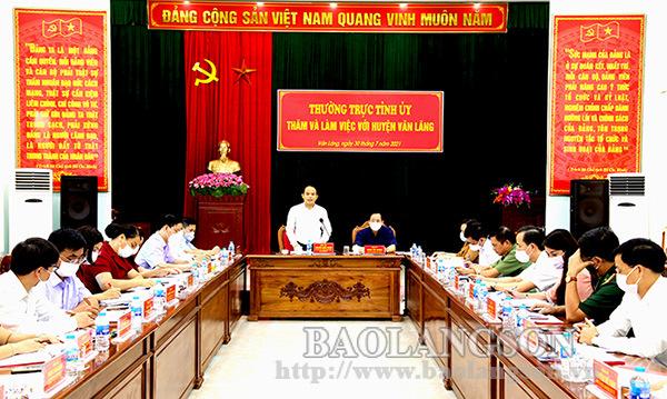 Bí thư Tỉnh ủy làm việc tại huyện Văn Lãng: Cần tập trung khai thác, phát huy thế mạnh về kinh tế cửa khẩu