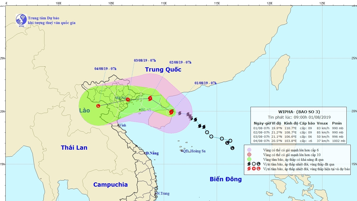 Tropical storm Wipha to batter northern Vietnam with torrential rains