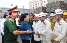 Top legislator visits construction site of Lao NA House, Vientiane province