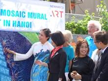 Ceramic mosaic mural promotes friendship