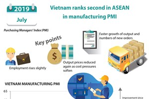 Vietnam ranks second in ASEAN in manufacturing PMI