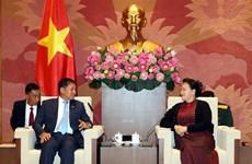 越南国会主席阮氏金银会见缅甸国防军总司令敏昂莱